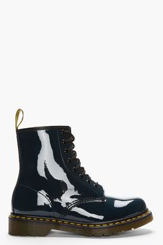 10724d491ee905 MARTENS    Navy Patent Leather 1460 Original 8-EYE BOOTs 32399M047007 Patent