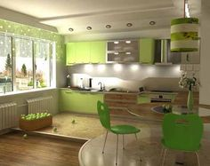 green kitchen cabinets, chairs and curtains