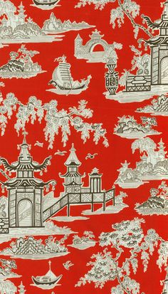 Home Decor Print Fabric- Waverly Peaceful Temple Lacquer