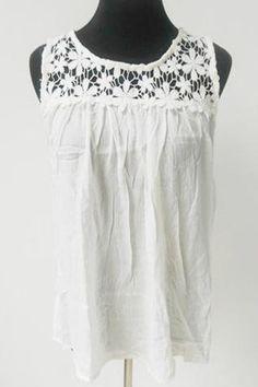 Chiffon Lace Back Top-White