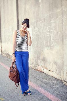 Blue linen pants with stripes <3