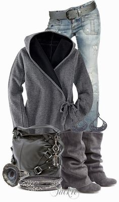 Stylish grey jacket with inside black, jeans, high heel boots and handbag
