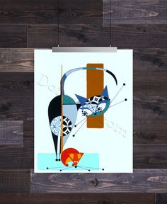 Letter F, Mid Century Modern Cat Alphabet, Giclee Print by Domini – Domcats Shrink Art, Mid Century Modern Art, Cat Drawing, Oeuvre D'art, Cat Art, Graphic Art, Illustration Art, Canvas Art, Artwork