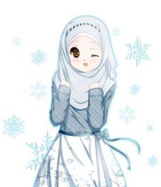 Winking Anime Girl in Hijab, Blouse and Skirt Girl Cartoon, Anime Muslimah, Islamic Art, Drawings, Cute Cartoon, Animation, Art, Anime, Cartoon