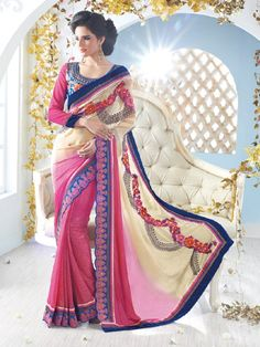 Shaded Pink with Blue border Embroidred Saree
