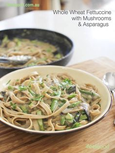 Image of Whole Wheat Fettuccine with Mushrooms and Asparagus
