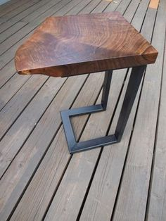 Live edge walnut table with blackened steel base. Table can be custom ordered in different lengths and heights. Table shown is wide x deep x… Small End Tables, Diy End Tables, Metal End Tables, Diy Table, Live Edge Furniture, Woodworking Furniture, Metal Furniture, Woodworking Projects, Woodworking End Table