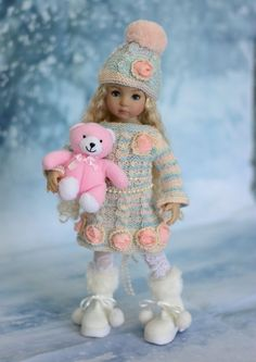 """""""Winter Pastels"""" Dress, Clothes, Outfit for 13"""" Dianna Effner Little Darling #LuminariaDesigns"""