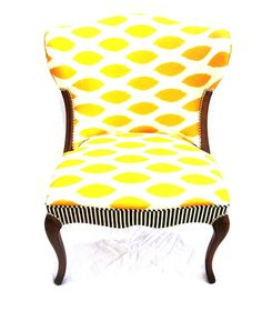 The Divine Chair--Love the yellow geometric print with the black & white striped apron on this armless chair.