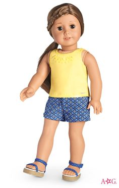Sunshine Tank & Geo-Print Shorts Outfit for Dolls Cosas American Girl, All American Girl Dolls, American Girl Crafts, American Doll Clothes, Ag Doll Clothes, Doll Clothes Patterns, Bitty Baby Clothes, Our Generation Dolls, Diy Doll