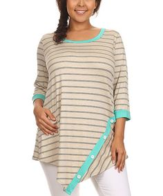 Another great find on #zulily! Oatmeal & Mint Stripe Button Tunic - Plus #zulilyfinds