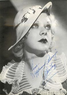American actress and singer (1915-1998), very famous and active in films in the 1930s and 1940s, her career spanned from 1931 through 1998 including long interrruptions. Signed photo, 8 x 11 inches, inscribed, excellent condition