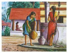South indian village women Painting by selva Art Village, Village Scene Drawing, Indian Village, Scenery Paintings, Watercolor Landscape Paintings, Indian Art Paintings, Watercolor Paintings, Landscape Art, Landscape Design