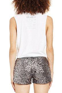 Pantalones de cintura baja de lentejuelas de plata