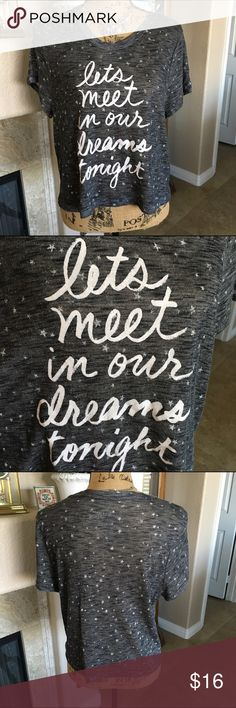 """🆕 Listing Adorable Top """"Let's Meet In Our Dreams Tonight"""". This is a limited edition by Bethany Mota. Stars adorn the front and back with the lettering on the front. This would be great with a long sleeve top under it! I'm always thinking of ways to use clothes every season. The bust measures approx 42"""" and the length 21"""" Everything I sell is from my real closet or family members. Nothing was purchased at a discount. Bethany Mota Tops Crop Tops"""