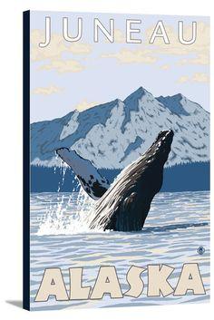 Juneau, Alaska - Humpback Whale - Lantern Press Artwork