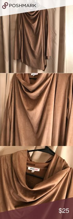 Cardigan 💗 I have a brand-new cardigan without the tags never been worn from justfab polyester material supersoft feels just like suede has a a hook on the left shoulder so you can wear the cardigan closed or completely open. I would say it's a tan/brown color JustFab Jackets & Coats