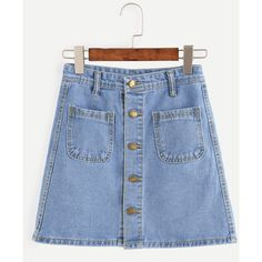 Blue Button Front Dual Pocket A Line Denim Skirt (38 BRL) ❤ liked on Polyvore featuring skirts, bottoms, jeans, shein, blue, a line denim skirt, short skirts, button front a line skirt, blue denim skirt and blue a line skirt