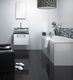 white bathroom black and white floor - Google Search