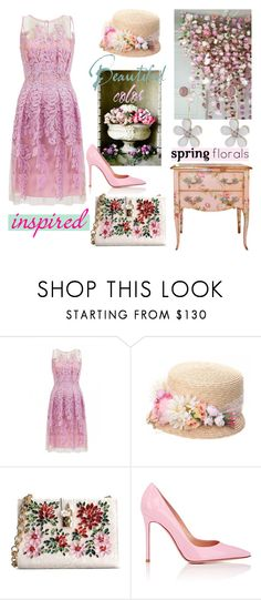 """""""Spring Florals"""" by nicolevalents ❤ liked on Polyvore featuring Blumarine, Grevi, Dolce&Gabbana, Gianvito Rossi and Oasis"""