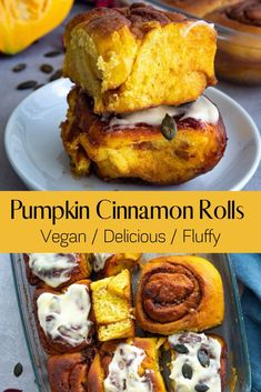The cinnamon rolls with pumpkin are perfect for autumn and winter season. By adding pumpkin the cinnamon rolls become so soft. With the creamy cinnamon butter mixture they simply taste heavenly. The Pumpkin Cinnamon rolls are also fluffy because they are made with yeast. Healthy Vegan Desserts, Best Vegan Recipes, Vegan Dessert Recipes, Whole Food Recipes, Breakfast Recipes, Vegan Cinnamon Rolls, Pumpkin Cinnamon Rolls, Cinnamon Butter, Pumpkin Recipes