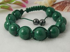 Fashion Shamballa Bracelets, Nylon Cord Knitted Bracelet, with Jade Dyed Beads and Hematite Beads, Green, 57mm