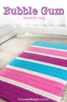 Make this amazing accent rug with Lion Brand Kitchen Cotton! The Bubble Gum Accent Rug is a free crochet pattern by Little Monkeys Crochet.