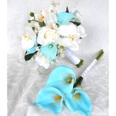 White Orchids and Roses With Pool Blue Calla Lily Bridal Bouquet Cyan... (1.065 NOK) ❤ liked on Polyvore featuring jewelry, rings, bouquets, decorations, silver, weddings, white wedding ring, blue wedding rings, wedding rings and bridal rings