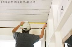 How to plank a ceiling or wall. from The Lettered Cottage . . . covering up popcorn or any other kind of undesirable ceiling with planks from Lowes. Cost about 100 dollars to do her entire dining room!