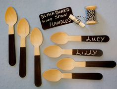 Wood Spoons 18 CHALK , BLACK Board Hand Painted Handles , Oh the FuN and Easy for All Custom Favors , Ice Cream Spoons, Eco Friendly. $12.00, via Etsy.