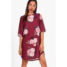 Boohoo Leila Large Floral 3/4 Sleeve Shift Dress ($15) ❤ liked on Polyvore featuring dresses, bodycon midi dress, bodycon maxi dresses, maxi dresses, red floral dress and red midi dress