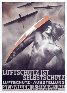 Luftschutz ist Selbstschutz Vintage Poster (artist: Baumberger) Switzerland c. 1934  lanternpress.com