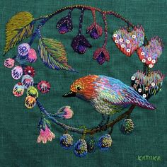 ♧ A Clover and One Bee ♧ embroidery, art, photographs, & quotes by Emily Dickinson about nature - embroidered bird and fruits Embroidered Bird, Bird Embroidery, Hand Embroidery Patterns, Beaded Embroidery, Cross Stitch Embroidery, Embroidery Designs, Creative Embroidery, Thread Art, Embroidery Techniques