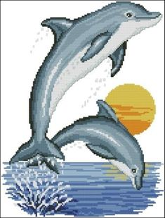 Brilliant Cross Stitch Embroidery Tips Ideas. Mesmerizing Cross Stitch Embroidery Tips Ideas. Dolphin Drawing, Dolphin Painting, Dolphin Art, Cross Stitch Charts, Cross Stitch Designs, Cross Stitch Patterns, Cross Stitching, Cross Stitch Embroidery, Cool Car Drawings