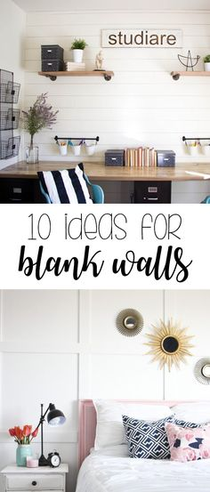 Great ideas on how to decorate large blank walls.