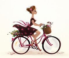 Girl on bicycle Art And Illustration, Bicycle Illustration, Bicycle Painting, Bicycle Art, Bicycle Design, Character Art, Character Design, Bike Drawing, Cartoon Art