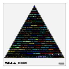 London Text Design I Wall Decal Equilateral Triangle Wall Skin