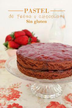 Pastel de fresa y chocolate sin gluten