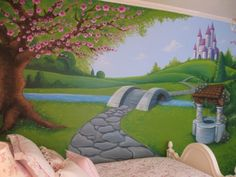 Girls Bedroom with Castle Wall Mural Picture... now why didn't I think of that? lol Love it