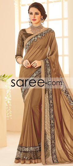 BROWN CHIFFON SAREE WITH PATCH WORK  #Saree #GeorgetteSarees #IndianSaree #Sarees  #SilkSarees #PartywearSarees #RegularwearSarees #officeWearSarees #WeddingSarees #BuyOnline #OnlieSarees #NetSarees #ChiffonSarees #DesignerSarees #SareeFashion