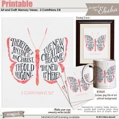 Printable Art and Crafts: Memory Verses - 2 Corinthians 5:17 by Elisha Barnett @ ScrapGirls.com