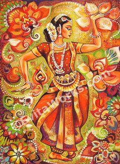 Indian classical dance painting, Bharatanatyam, Goddess dancer, Indian woman…