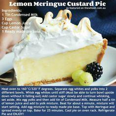 Lemon merangue custard pie Challenge - Make GF, dairy free & sugar free.. Hmm
