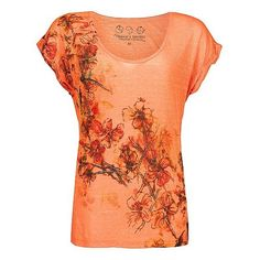 Threads 4 Thought Sublimated Floral Top ($24) found on Polyvore featuring tops, t-shirts, shirts, orange, blusas, coral reef, red shirt, burnout tee, burn out t shirt and floral print t shirt