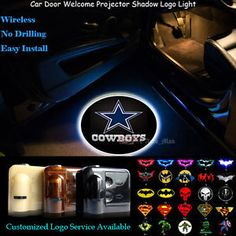 2x Dallas Cowboys Logo Wireless Car Door Projector Puddle Shadow CREE LED Lights
