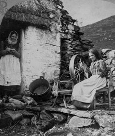 Spinning flax into linen thread, Ireland, 1904.