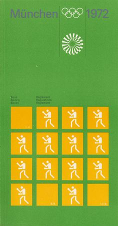 Boxing Regulations | Booklet designed for the 1972 Munich Olympic Games by Otl Aicher | Aicher had helped to found the hugely influential HfG Design School in Ulm in the 1950s and had then worked for Braun, forging its corporate identity with Hans Gugelot. He and his team was responsible for creating the complete visual identity for the 1972 Games, including the now ubiquitous Olympic pictograms. Room-606.com