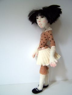 "MAY, a""spring girl"", needle felted art doll,by Feltoohlala."