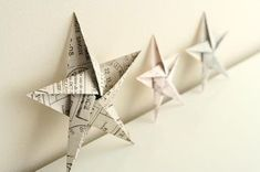 5 pointed origami star Christmas ornaments - step by step instructions (Diy Paper Ornaments) Diy Christmas Star, Christmas Star Decorations, Christmas Origami, Homemade Christmas, Tree Decorations, Christmas Ideas, Diy Origami, Origami Paper, Origami Bird