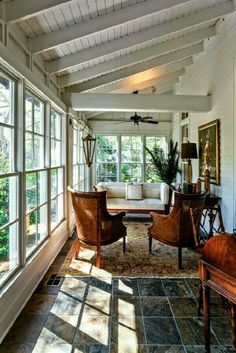 Love the ceiling in this sunroom.